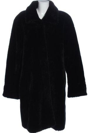 C&A Manteau en fausse fourrure noir style décontracté
