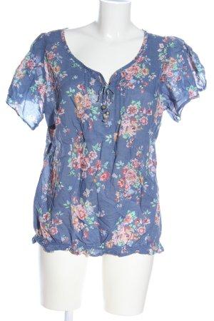 C&A Kurzarm-Bluse blau-pink Allover-Druck Casual-Look