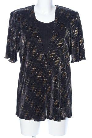 C&A Kurzarm-Bluse schwarz abstraktes Muster Glitzer-Optik