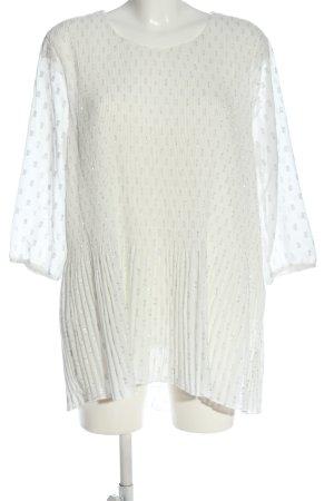 C&A Langarm-Bluse weiß-silberfarben Allover-Druck Elegant