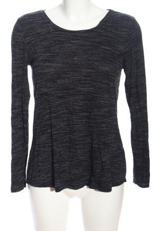 C&A Langarm-Bluse schwarz-hellgrau meliert Casual-Look
