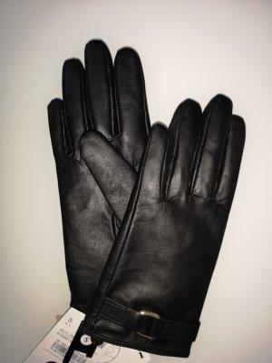 C&A Guantes de cuero negro