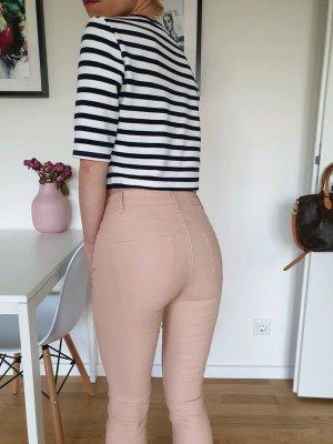 C&A Lederhose Leder Leggings XXS XS 32 34 beige skinny Lack Röhre Hose Jeans Treggings Neu