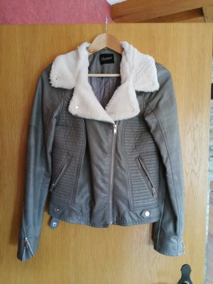 C&A Leather Jacket grey-light brown