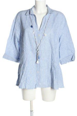 C&A Blusa de lino blanco-azul estampado a rayas look casual