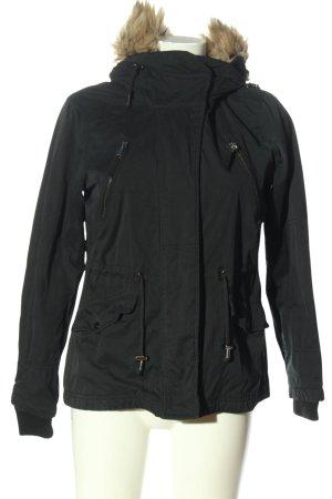 C&A OUTERWEAR Veste à capuche noir moucheté style décontracté