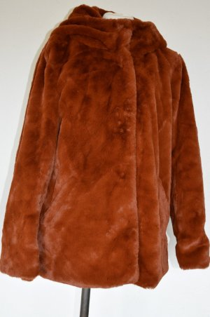 Veste en fausse fourrure brun polyester