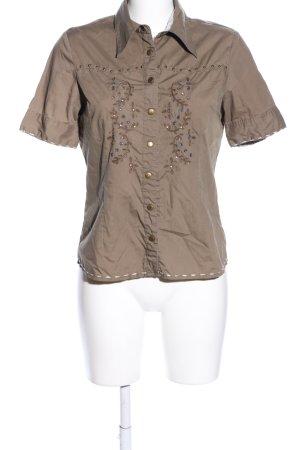 c.a.r.o. Kurzarm-Bluse braun klassischer Stil