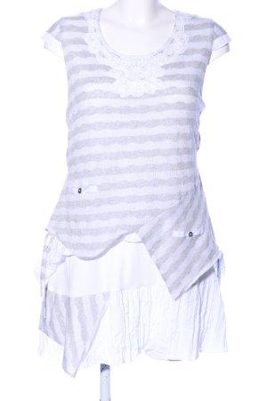 c.a.r.o. Longshirt hellgrau-weiß Streifenmuster Casual-Look