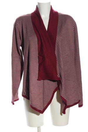 c.a.r.o. Veste en tricot rouge-gris clair motif rayé style décontracté