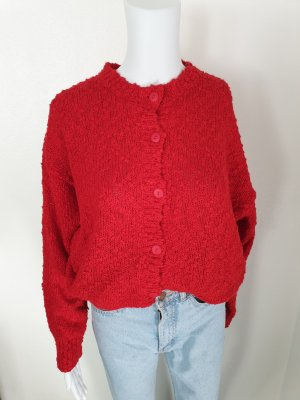 C&A Rot 40 Cardigan Strickjacke Oversize Pullover Hoodie Pulli Sweater True Vintage