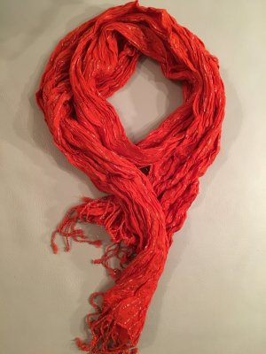 C&A Fringed Scarf bright red-neon orange viscose
