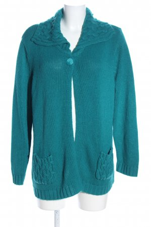 C&A Strick Cardigan türkis Zopfmuster Casual-Look