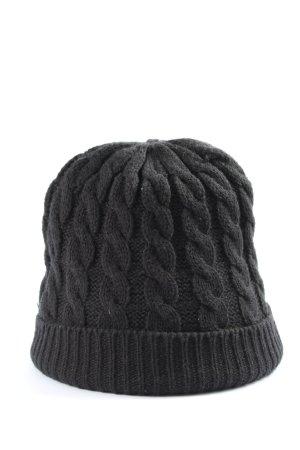 C&A Cappello a maglia nero punto treccia stile casual