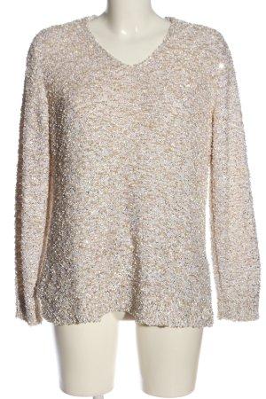 C&A V-Ausschnitt-Pullover wollweiß-hellgrau Zopfmuster Casual-Look