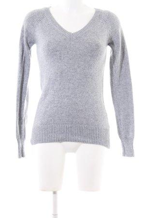 C&A V-Ausschnitt-Pullover hellgrau meliert Casual-Look