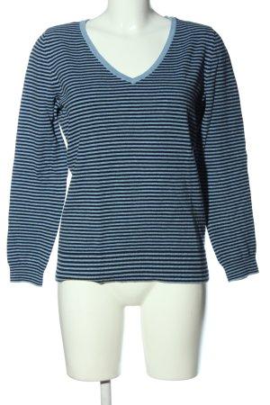C&A V-Ausschnitt-Pullover blau-schwarz Streifenmuster Casual-Look