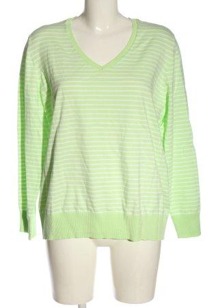 C&A V-Ausschnitt-Pullover grün-weiß Allover-Druck Casual-Look