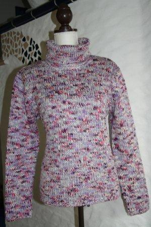 C&A Woll Rollkragen Pulli Pullover pink, lila, weiss, blau, bordeaux mit Glitzergarn Wolle Polyacryl Metallic / NEU!