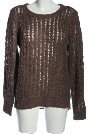 C&A Yessica Crochet Sweater brown cable stitch casual look