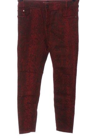 C&A Yessica Pantalon taille haute rouge-noir motif animal style décontracté