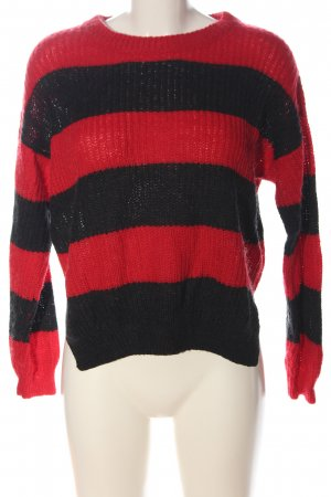 C&A Yessica Crewneck Sweater red-black striped pattern casual look