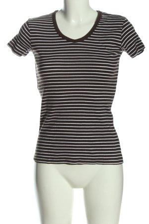 C&A Yessica V-Ausschnitt-Shirt braun-weiß Streifenmuster Casual-Look