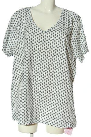 C&A Yessica V-Ausschnitt-Shirt weiß-schwarz Allover-Druck Casual-Look