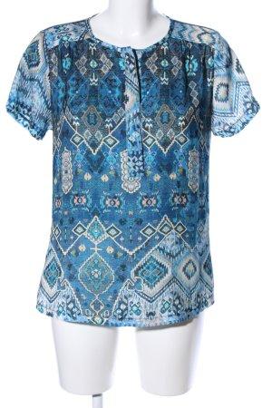C'est Paris Kurzarm-Bluse blau-creme grafisches Muster Casual-Look