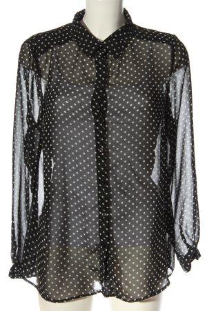 C'est Paris Long Sleeve Shirt black-white spot pattern casual look