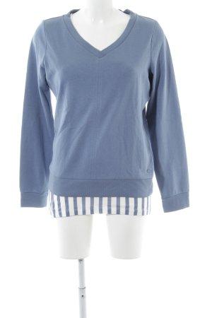 C'est Tout Rundhalspullover blau-weiß Streifenmuster Casual-Look