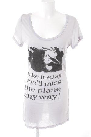 C'est Tout T-Shirt mauve-black themed print casual look