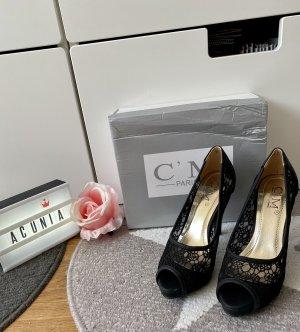 C'M Paris Peep Toes mit Spitze schwarz Größe 36