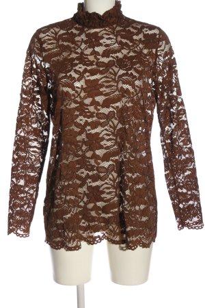 c&s Blouse à manches longues brun élégant