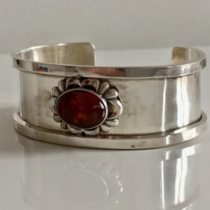 ca. 1930 Antik Silber Armband Sterling silber Bernstein gold braun Cabochon oval Juwelierarbeit Meisterpunze