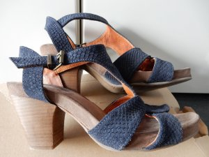 Ca Shott Strapped High-Heeled Sandals petrol-dark blue leather