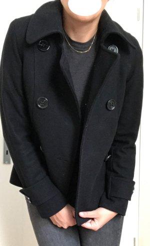 Hennes Collection by H&M Abrigo de piloto negro tejido mezclado