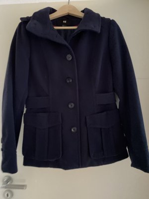 H&M Pea Jacket dark blue
