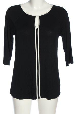 cable & gauge Bluzka przez głowę czarny-biały W stylu casual