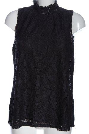 cable & gauge Koronkowa bluzka czarny Wzór w kwiaty W stylu casual