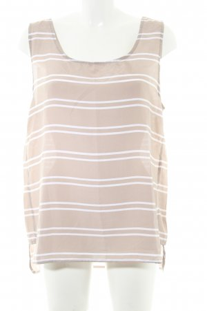 Cacharel Blouse sans manche blanc-gris brun motif rayé style transparent