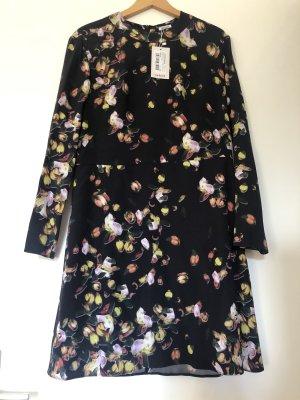 Cacharel Kleid Seide schwarz bunt Blumen
