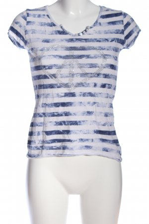 Cache & Cache Short Sleeved Blouse white-blue flecked casual look