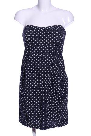 Cache & Cache schulterfreies Kleid blau-weiß Punktemuster Casual-Look