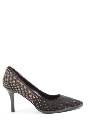 Café Noir High Heels silver-colored-black spot pattern casual look