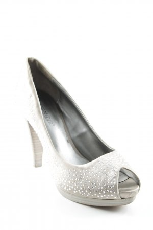 Café Noir Peeptoe Pumps beige-silberfarben Party-Look