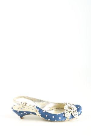 Café Noir Slingback-Pumps blau-weiß Punktemuster Casual-Look