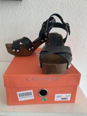 Café Noir Platform High-Heeled Sandal black-brown leather