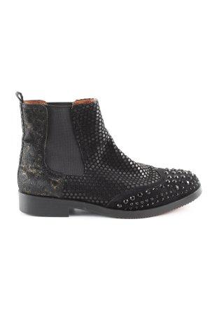 Cafènoir Chelsea Boots black-gold-colored animal pattern wet-look