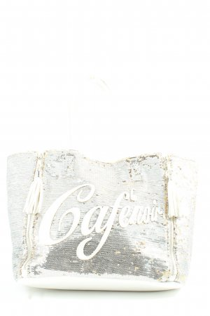 Cafènoir Carry Bag silver-colored-natural white printed lettering casual look